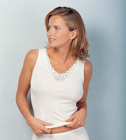 ebcbf6202505c6 Medima Classic Damen-Hemd ohne Arm Plus Seide weiß mit Spitze