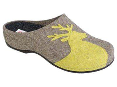 Berkemann Filz-Pantoffel LORRIE beige/Hirsch