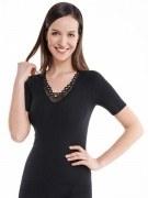 Medima Classic  Damen-Hemd  1/4 Arm mit Spitze 20%  Angora schwarz