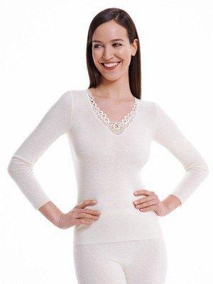 Medima Classic  Damen-Hemd  1/1 Arm mit Spitze 20%  Angora weiß