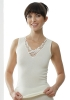 Medima Classic Damen-Hemd ohne Arm mit Spitze 20%Angora, weiß