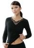 Medima Classic Damen-Hemd  1/1 Arm mit Spitze 20%  Angora schwarz