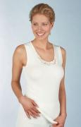 Medima Classic  Damen-Hemd ohne Arm mit Spitze 20%  Angora weiß