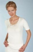 Medima Classic  Damen-Hemd  1/4 Arm mit Spitze 20%  Angora weiß
