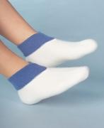 Medima Classic Fußwärmer mit extra weitem Bündchen, weiß/aqua