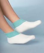 Medima Classic Fußwärmer mit extra weitem Bündchen, weiß/türkis