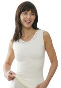 Medima Classic  Damen-Hemd  ohne Arm mit Spitze Plus Seide weiß