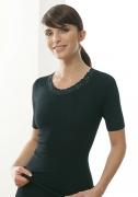 Medima Classic  Damen-Hemd 1/4 Arm mit Spitze Plus Seide schwarz