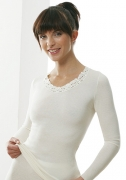 Medima  Classic Damen-Hemd 1/1 Arm mit Spitze Plus Seide, weiß