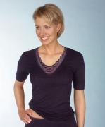 Medima Classic  Damen-Hemd 1/4 Arm Plus Seide schwarz mit Spitze