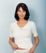 Medima Classic Damen-Hemd 1/4 Arm Plus Seide weiß mit Spitze