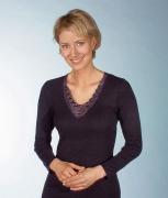 Medima Lingerie Kaschmir/Seide Damen-Hemd 1/1 Arm mit Spitze schwarz