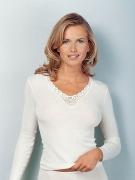 Medima Classic Damen-Hemd 1/1 Arm Plus Seide weiß mit Spitze