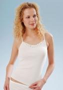 Medima  Classic Damen-Trägerhemd Plus Seide weiß mit Spitze
