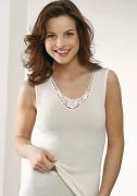 Medima Lingerie Kaschmir/Seide Damen-Hemd ohne Arm mit Spitze weiß