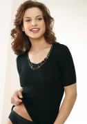 Medima Lingerie Kaschmir/Seide Damen-Hemd 1/4 Arm mit Spitze schwarz