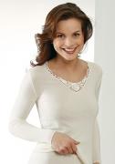 Medima Lingerie  Damen-Hemd 1/1 Arm mit Spitze Kaschmir/Seide weiß