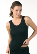 Medima Lingerie Damen-Hemd ohne Arm 100% Seide schwarz