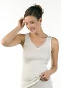 Medima Lingerie  Damen-Hemd ohne Arm, mit Motiv 100% Seide weiß