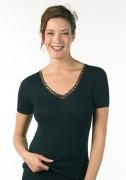 Medima Lingerie Damen-Hemd 1/4 Arm, mit Motiv 100% Seide schwarz