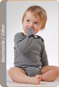 Medima Antisept Baby-Body 1/1 Arm mit Handschuh, blau-weiß geringelt