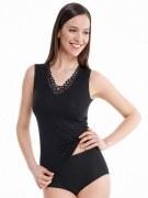 Medima Classic  Damen-Hemd ohne Arm mit Spitze 20%  Angora schwarz