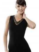 Medima Classic  Damen-Hemd  ohne Arm mit Spitze 20%Angora, schwarz