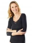 Medima Lingerie Damen-T-Shirt 7/8 Arm mit Spitze schwarz