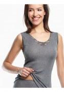 Medima Lingerie Kaschmir/Seide Damenhemd ohne Arm mit Spitze  mittelgrau
