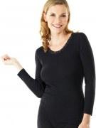 Medima Classic Damen-Hemd 1/1 Arm mit Spitze Plus Seide schwarz
