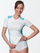Medima Classic Sport-AIR Damen Hemd 1/4 Arm V-Neck, weiß-türkis