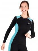 Medima Classic Sport-AIR Damen Hemd 1/1 Arm Rundhals, schwarz-türkis