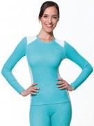 Medima Classic Sport-AIR Damen Hemd 1/1 Arm Rundhals, türkis-weiß