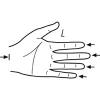 Messpunkt: Beginn Handfläche bis Fingerende